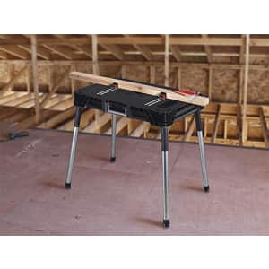 KETER Jobmade Portable Work Bench and Miter Saw Table for Woodworking Tools and Accessories with for $80