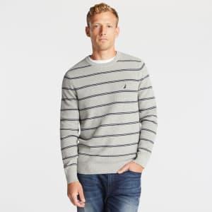 Nautica Men's Navtech Striped Crewneck Sweater for $18