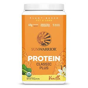 Sunwarrior Classic Plus Organic Vegan Protein Powder with BCAAs and Pea Protein (Vanilla, 30 for $24