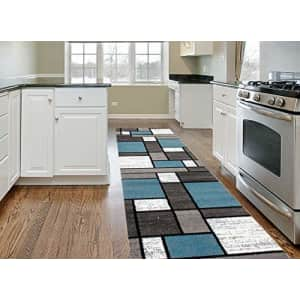 """Rugshop Contemporary Modern Boxes Area Rug Runner 2' x 7'2"""" Blue/Gray for $60"""