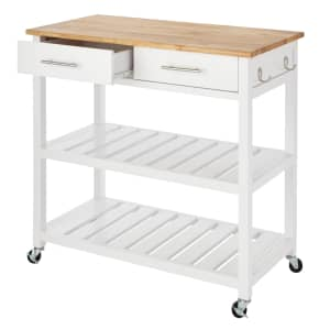 StyleWell Glenville 2-Shelf Kitchen Cart w/ Butcher Block Top for $152