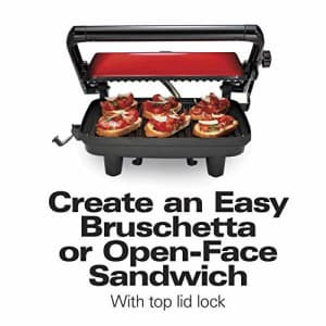 Hamilton Beach Electric Panini Press Grill With Locking Lid, Opens 180 Degrees For Any Sandwich for $71