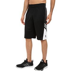 adidas Men's Basketball Team Speed Pregame Shorts, Black/Dark Solid Grey/White, Small for $20