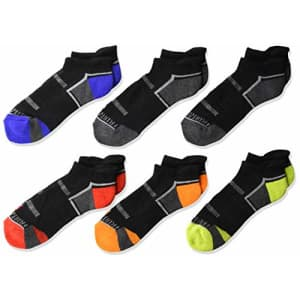 Fruit of the Loom Boys' Big Everyday Active Low Cut Tab Socks-6 Pair Pack, M for $6