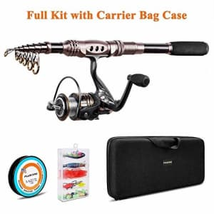 PLUSINNO Fishing Rod and Reel Combos Carbon Fiber Telescopic Fishing Rod with Reel Combo Sea for $73