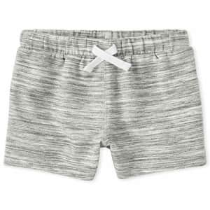 The Children's Place Boys' Baby and Toddler Marled French Terry Shorts, White, 5T for $9