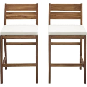 Walker Edison Outdoor Acacia Wood Counter Stool 2-Pack for $170