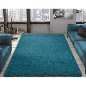 """Ottomanson SHG2766-7X10 Solid Shag Rug, 6'7"""" x 9'3"""", Turquoise for $209"""