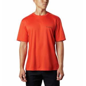 Columbia Men's Meeker Peak Short Sleeve Wicking UPF 15 Crew Shirt, Wildfire, 1X for $25