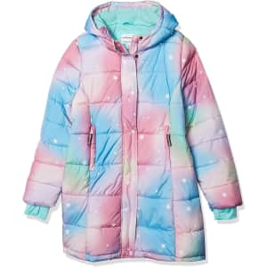 Amazon Essentials Girls' Hooded Puffer Jacket from $14
