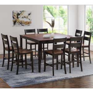 Abbyson Living Wesley 9-Piece Counter Height Wood Dining Set for $999