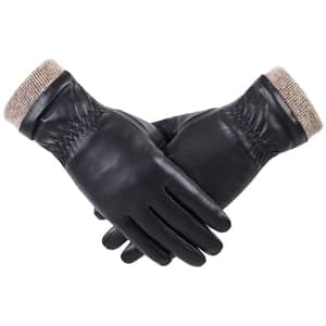 Redess Women's Wool-Lined PU Leather Gloves for $15