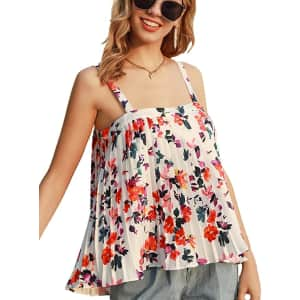Grace Karin Women's Floral Pleated Tank Top for $9