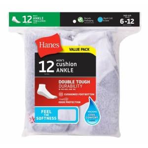 Hanes Men's FreshIQ Cushion Ankle Socks 12-Pack for $13 in cart