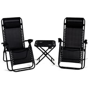 Giantex 3 PCS Zero Gravity Chair Patio Chaise Lounge Chairs Outdoor Yard Pool Recliner Folding for $150
