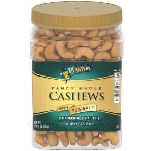 Planters 33-oz. Fancy Whole Cashews With Sea Salt for $13 via Sub & Save