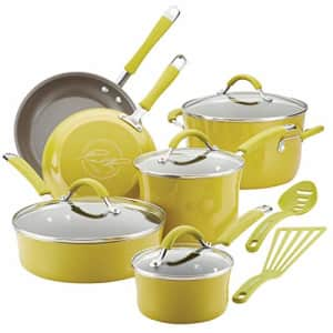 Rachael Ray 16806 Cucina Nonstick Cookware Pots and Pans Set, 12 Piece, Lemongrass Green for $248
