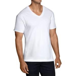 Fruit of the Loom Men's Stay Tucked V-Neck T-Shirt 12-Pack for $16