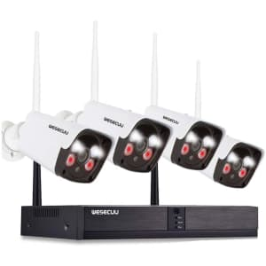 Wesecuu Wireless Security Camera System for $107