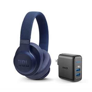 JBL Live 500BT Wireless Bluetooth On-Ear Headphones Bundle with Anker PowerPort Elite 2 Ports USB for $100