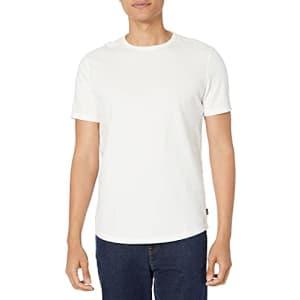 Lucky Brand Men's Short Sleeve Crew Neck Curved Hem Tee Shirt, Bright White, M for $25