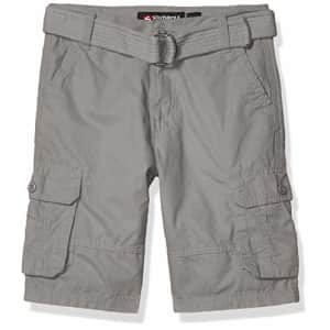 Southpole - Kids Boys' Big Belted Mini Canvas Cargo Shorts in, Light Grey 3, 12 for $16