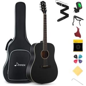 Donner Beginner Acoustic Guitar Starter Bundle for $155