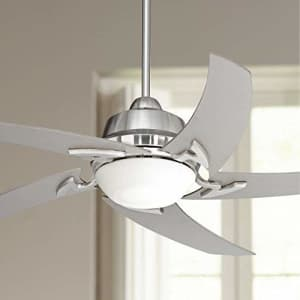 """Casa Vieja 52"""" Capri Modern Ceiling Fan with Light LED Remote Control Brushed Nickel Silver Blades Opal Glass for $200"""