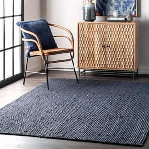 nuLOOM Rigo Hand Woven Jute Accent Rug, 2' x 3', Navy for $47