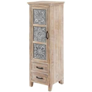 """LuxenHome 48"""" Metal and Wood Tall Tower Cabinet for $175"""