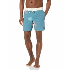 Volcom Men's 17-Inch Elastic Waist Surf Swim Trunks, Migration-Hydro Blue, XX-Large for $31