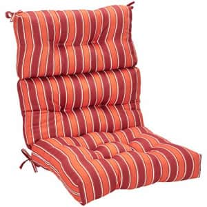 Amazon Basics Tufted Outdoor High Back Patio Chair Cushion- Red Stripe for $63