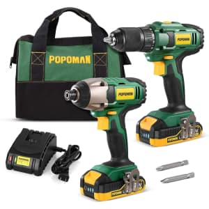 Popoman 20V Cordless Drill and Impact Driver Combo Kit for $130