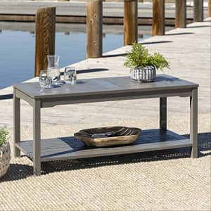Walker Edison Furniture Company Outdoor Patio Wood Rectangle Coffee Table All Weather Backyard for $303