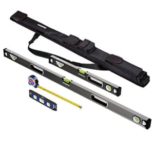 WORKPRO W002901A 4-Piece Measuring Tool Set, Torpedo, Spirit Level, Tape Measure with Carrying Bag for $68