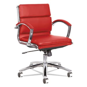Alera ALE Neratoli Low-Back Slim Profile Chair, Red Soft Leather, Chrome Frame for $270