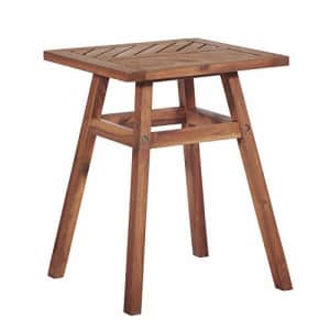 Walker Edison Furniture Company Outdoor Patio Wood Chevron Square End Side Table All Weather for $76