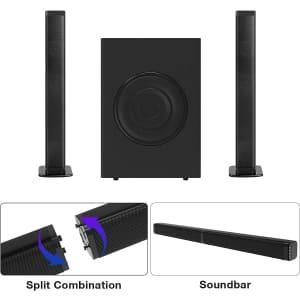 2.1-Channel Soundbar / Tower Speakers and Subwoofer System for $70