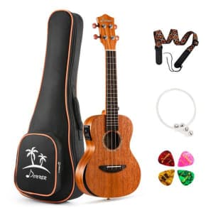 "Donner 23"" Acoustic Electric Beginner Ukulele Kit for $37"