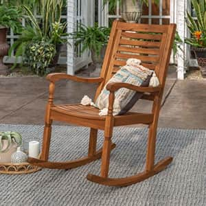Walker Edison Montego Traditional Acacia Wood Slat Back Patio Rocking Chair, 42 Inch, Brown for $169