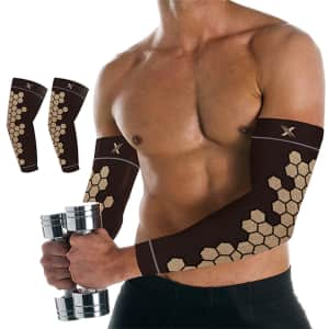Copper Infused Arm Compression Elbow Support Sleeve 2-Pack for $10
