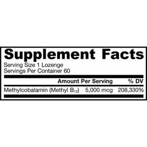 Jarrow Formulas Methylcobalamin (Methyl B12), Supports Brain Cells, 5000 mcg, 60 Lozenges for $22