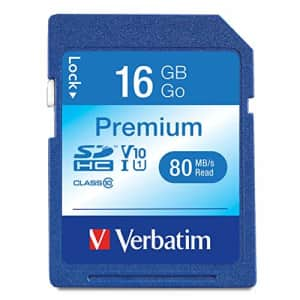 Verbatim 16GB Premium SDHC Memory Card, UHS-I V10 U1 Class 10, blue for $11