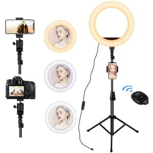 """Lunusi 12"""" LED Selfie Ring Light with Tripod Stand for $24"""