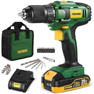 Popoman 20V Max Compact Drill/Driver Kit for $64