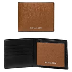 Michael Kors Cooper Pebbled Leather Billfold Wallet with Passcase for $53