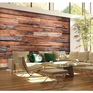 "100"" x 144"" Vinyl Reclaimed Wood Wall Mural for $80"