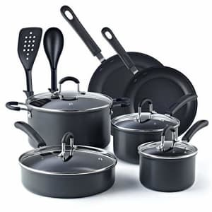 Cook N Home, Black 12-Piece Nonstick Hard Anodized Cookware Set for $120