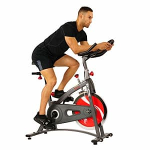 Sunny Health & Fitness Spin Bike Belt Drive Indoor Cycling Bike with LCD Monitor, 40 lb Chrome for $216