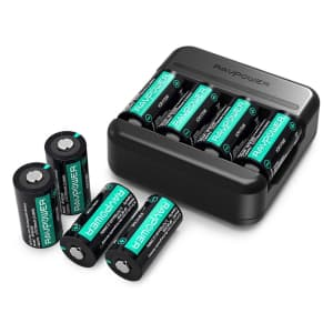 RAVPower CR123A Battery Charger with 8 Batteries for $15